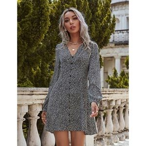NWT Shein Button Front Animal Print Tunic Dress